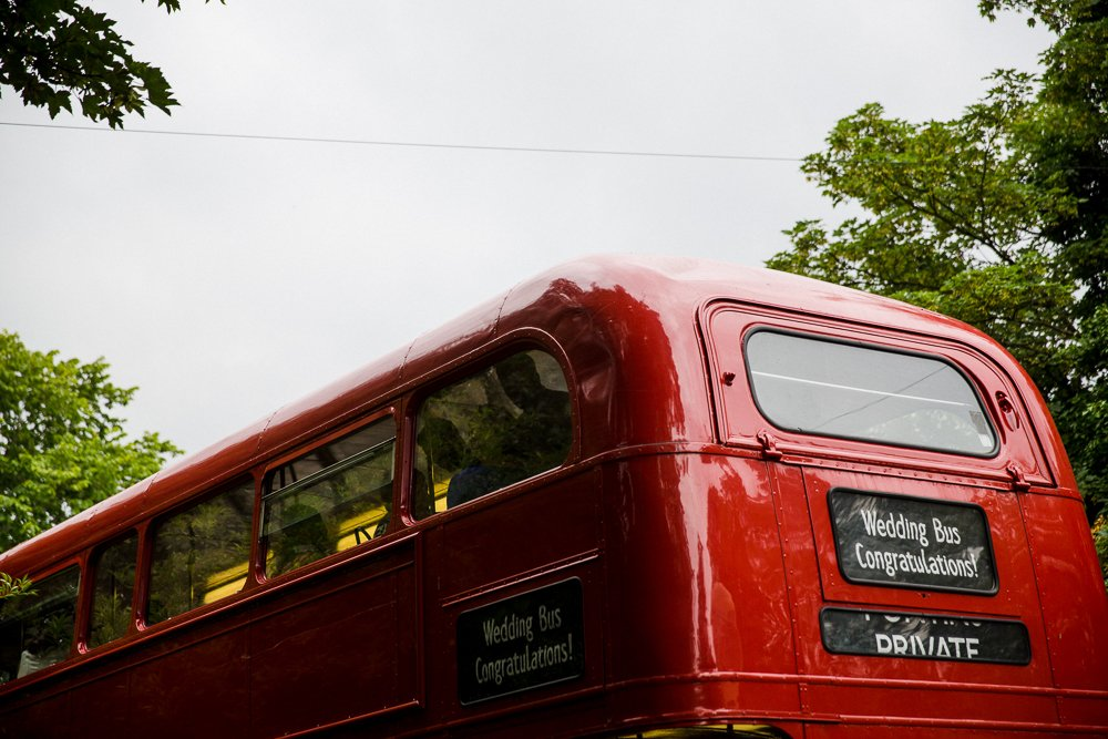 red wedding bus
