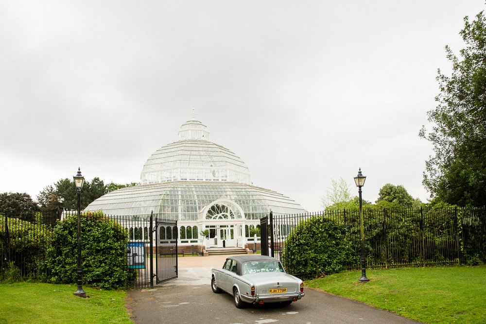 wedding car sefton park palm house